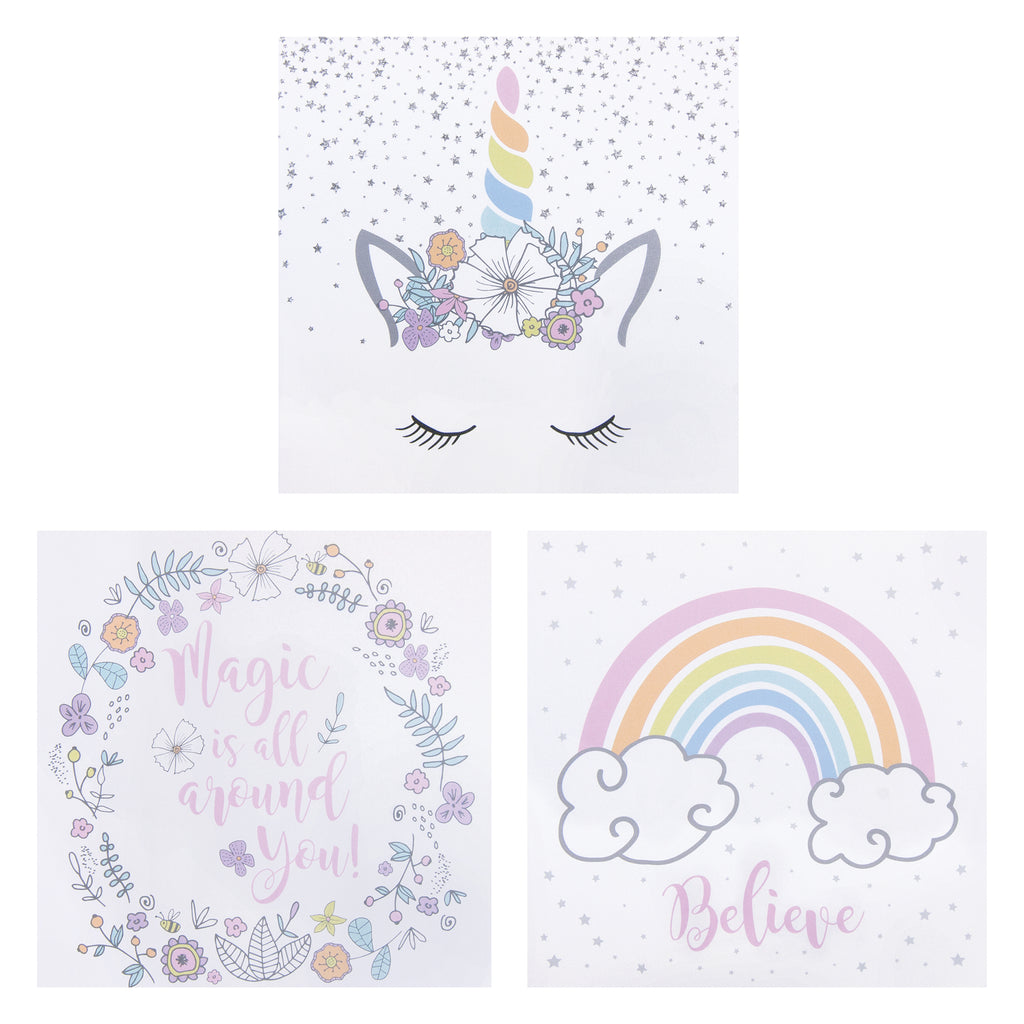 Rainbow Unicorns Canvas Wall Art 3 Pack