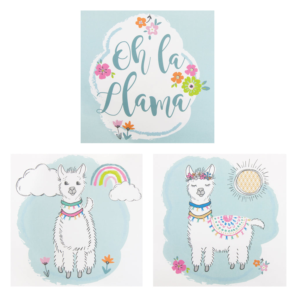 Oh La Llama Canvas Wall Art 3 Pack