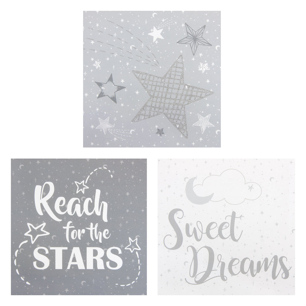 Moon and Stars Canvas Wall Art 3 Pack