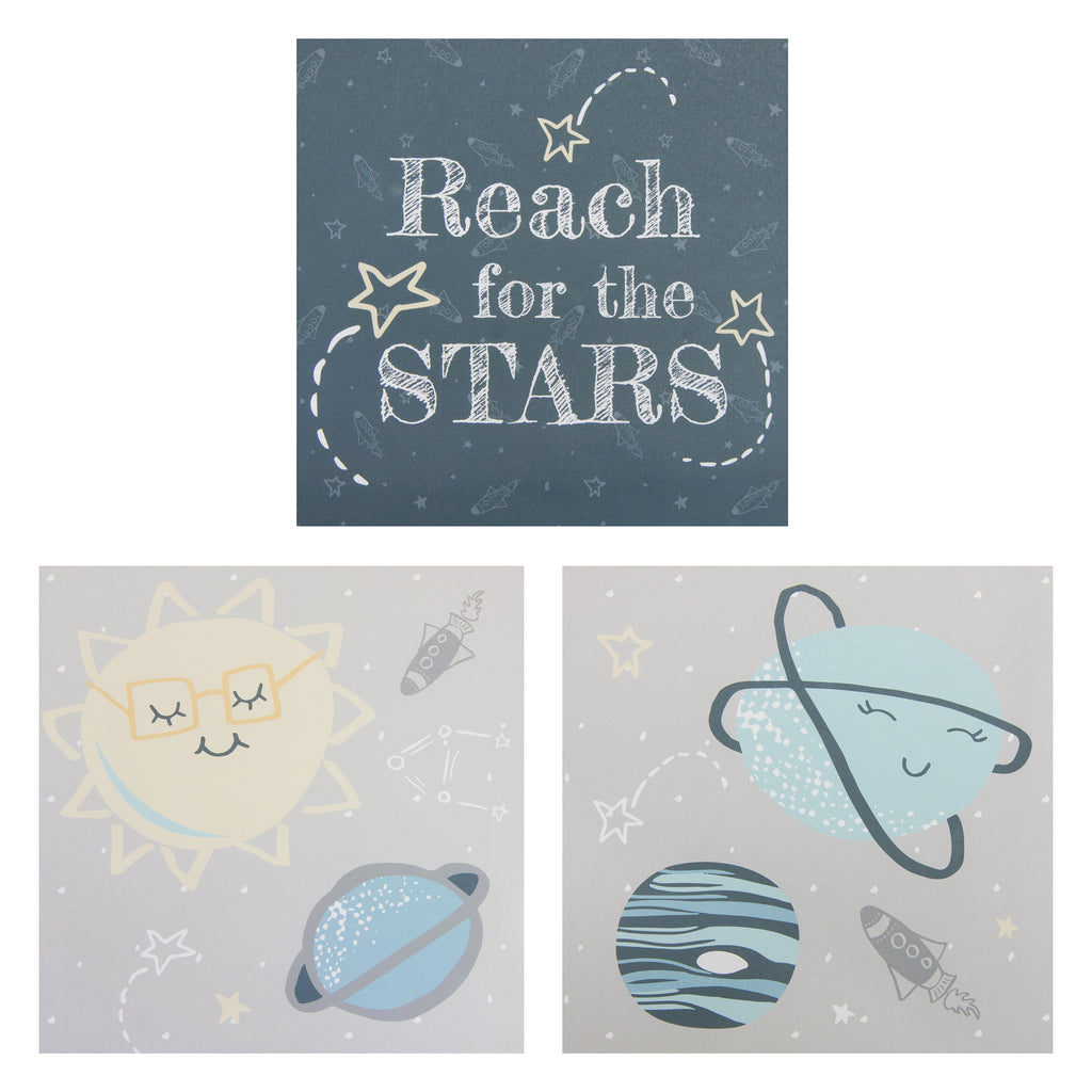 Happy Planets Canvas Wall Art 3 Pack