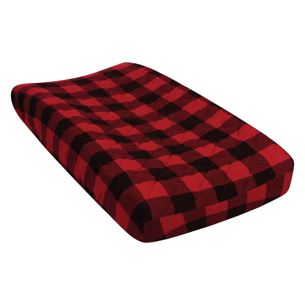 Red and Black Buffalo Check Quilted Jersey Changing Pad Cover