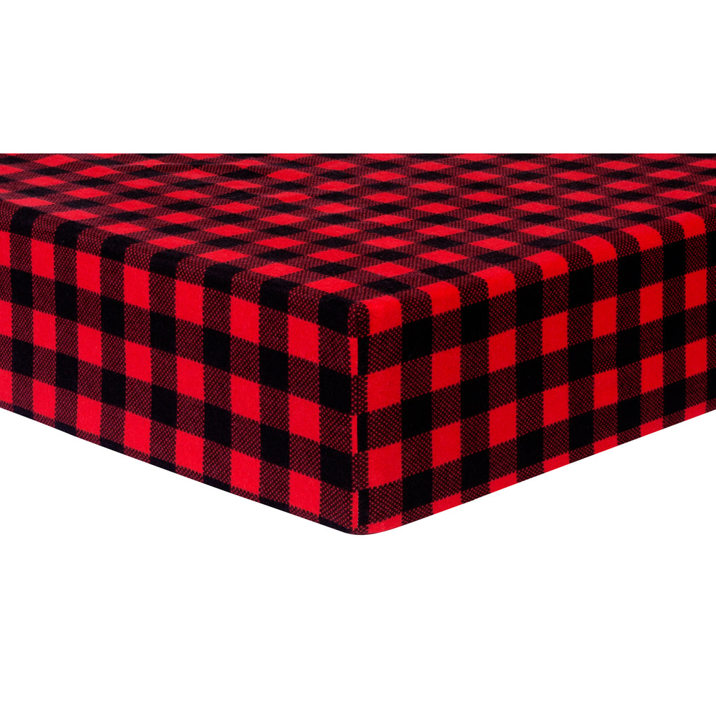 Red and Black Buffalo Check Deluxe Flannel Fitted Crib Sheet