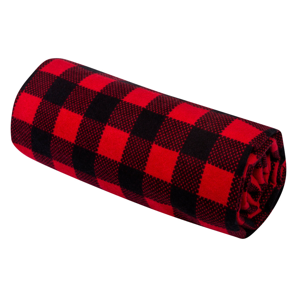 Red and Black Buffalo Check Jumbo Deluxe Flannel Swaddle Blanket
