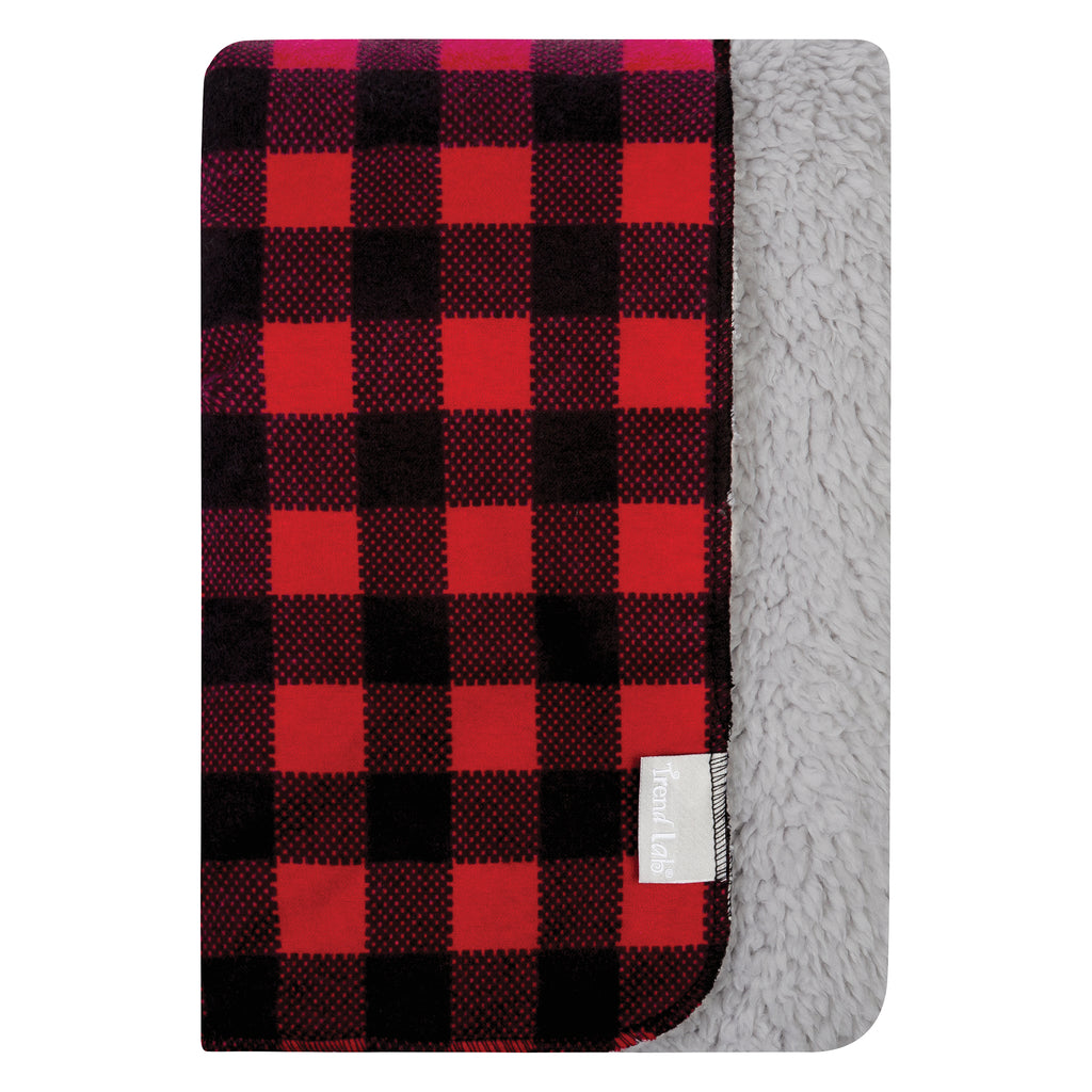 Red and Black Buffalo Check Flannel and Faux Shearling Baby Blanket