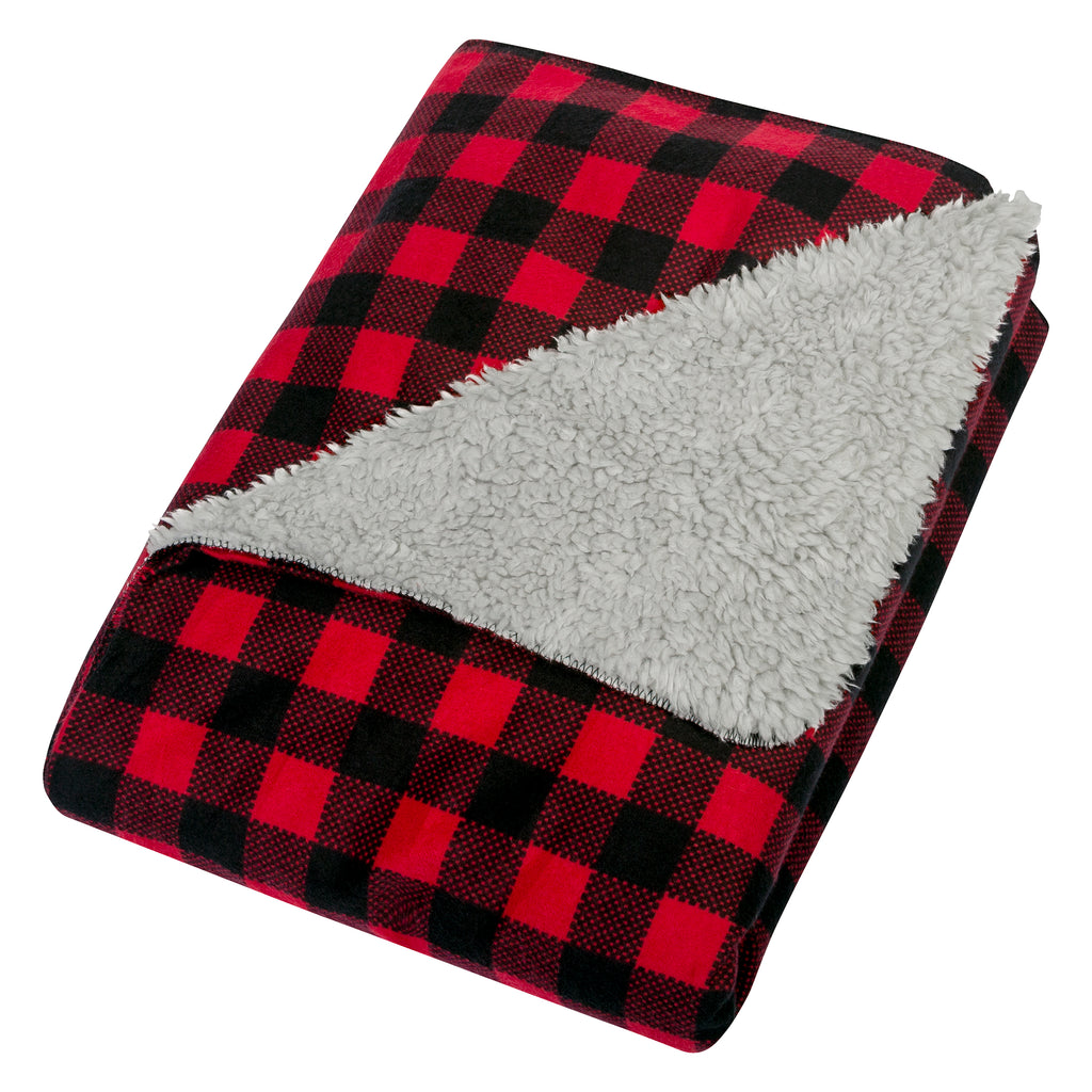Red and Black Buffalo Check Flannel and Faux Shearling Baby Blanket103574$19.99Trend Lab