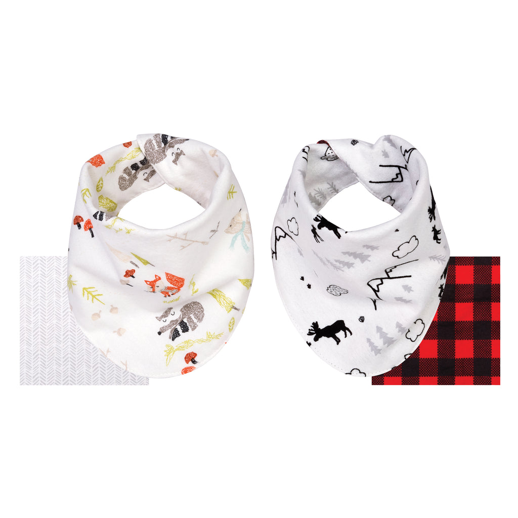 Buffalo Check Woodland 2 Pack Reversible Flannel Bandana Bib Set