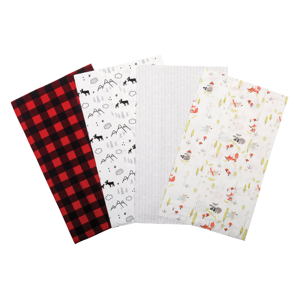 Buffalo Check Woodland 4 Pack Flannel Burp Cloth Set Trend Lab, LLC