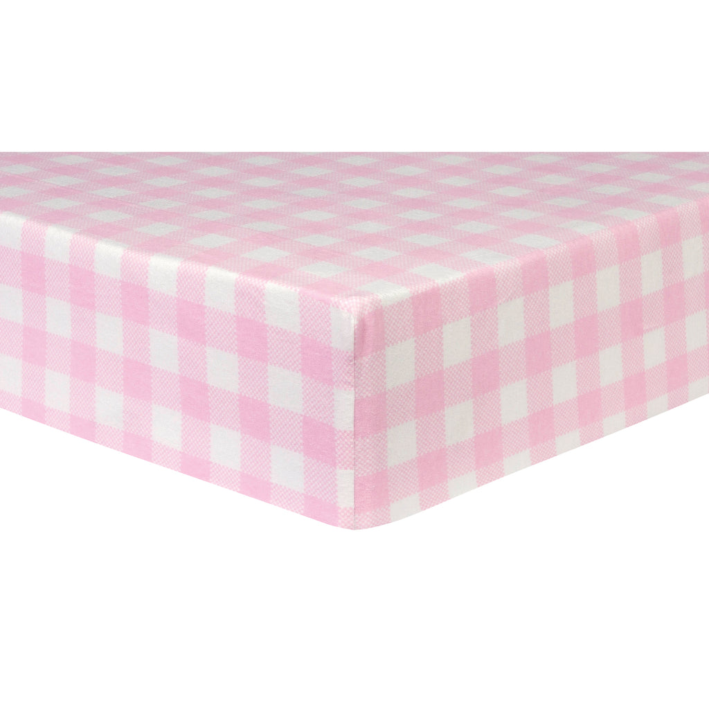 Pink and White Buffalo Check Deluxe Flannel Fitted Crib Sheet Trend Lab, LLC