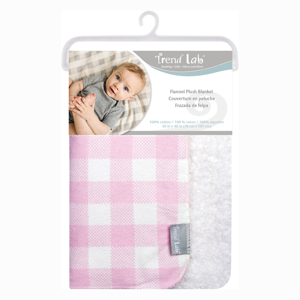 Pink and White Buffalo Check Flannel and Faux Shearling Baby Blanket Trend Lab, LLC