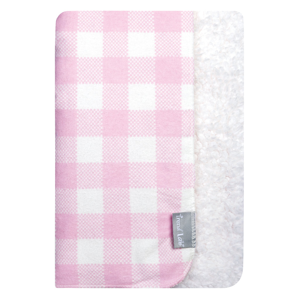 Pink and White Buffalo Check Flannel and Faux Shearling Baby Blanket103579$19.99Trend Lab