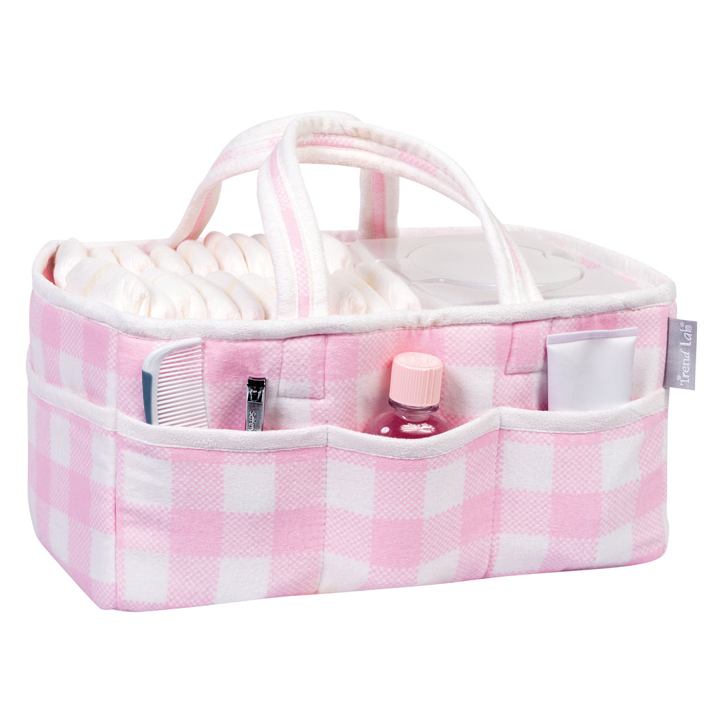 Pink and White Buffalo Check Storage Caddy Trend Lab, LLC