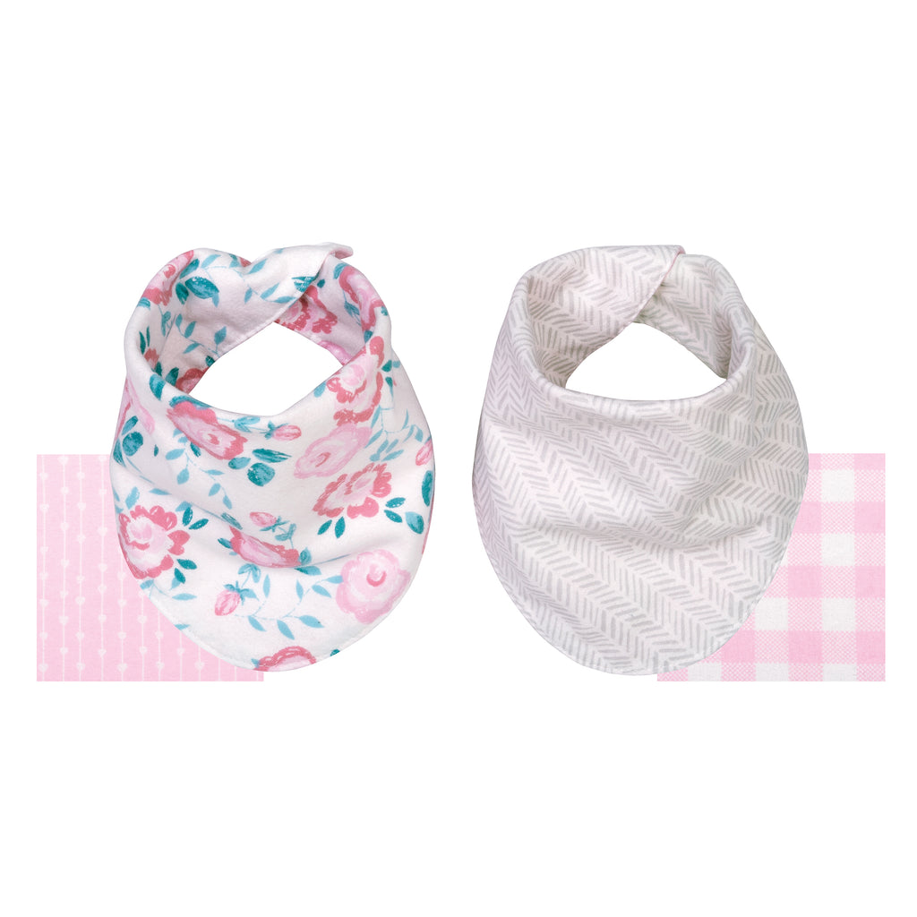 Pink Floral 2 Pack Reversible Flannel Bandana Bib Set