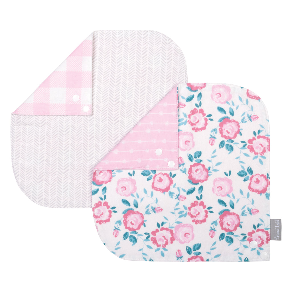 Pink Floral 2 Pack Reversible Flannel Bandana Bib Set Trend Lab, LLC