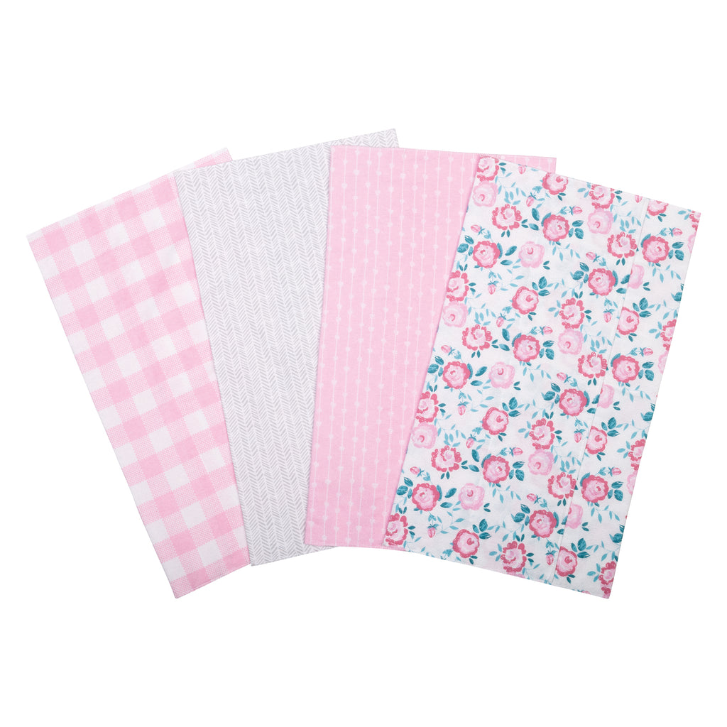Pink Floral 4 Pack Flannel Burp Cloth Set Trend Lab, LLC