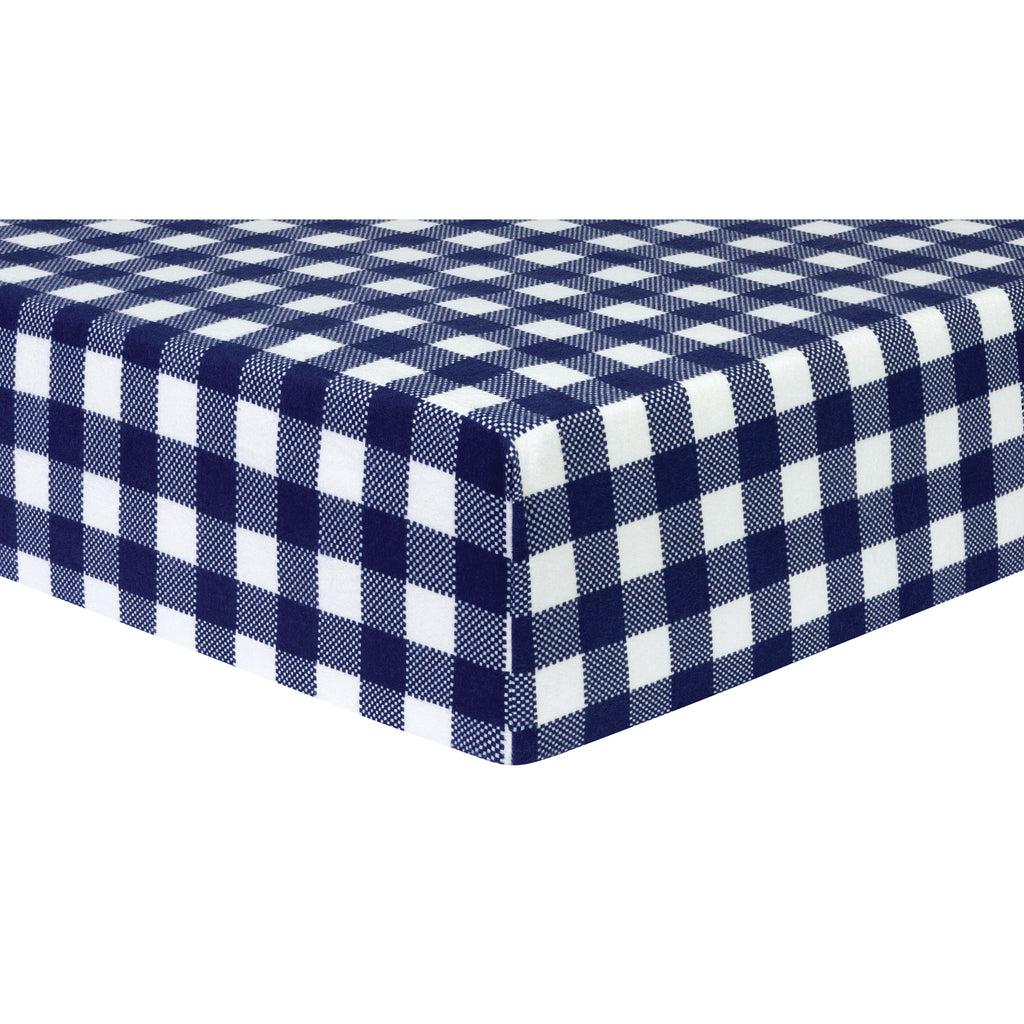 Navy and White Buffalo Check Deluxe Flannel Fitted Crib Sheet