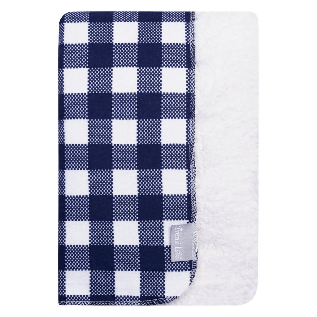 Navy and White Buffalo Check Flannel and Faux Shearling Baby Blanket