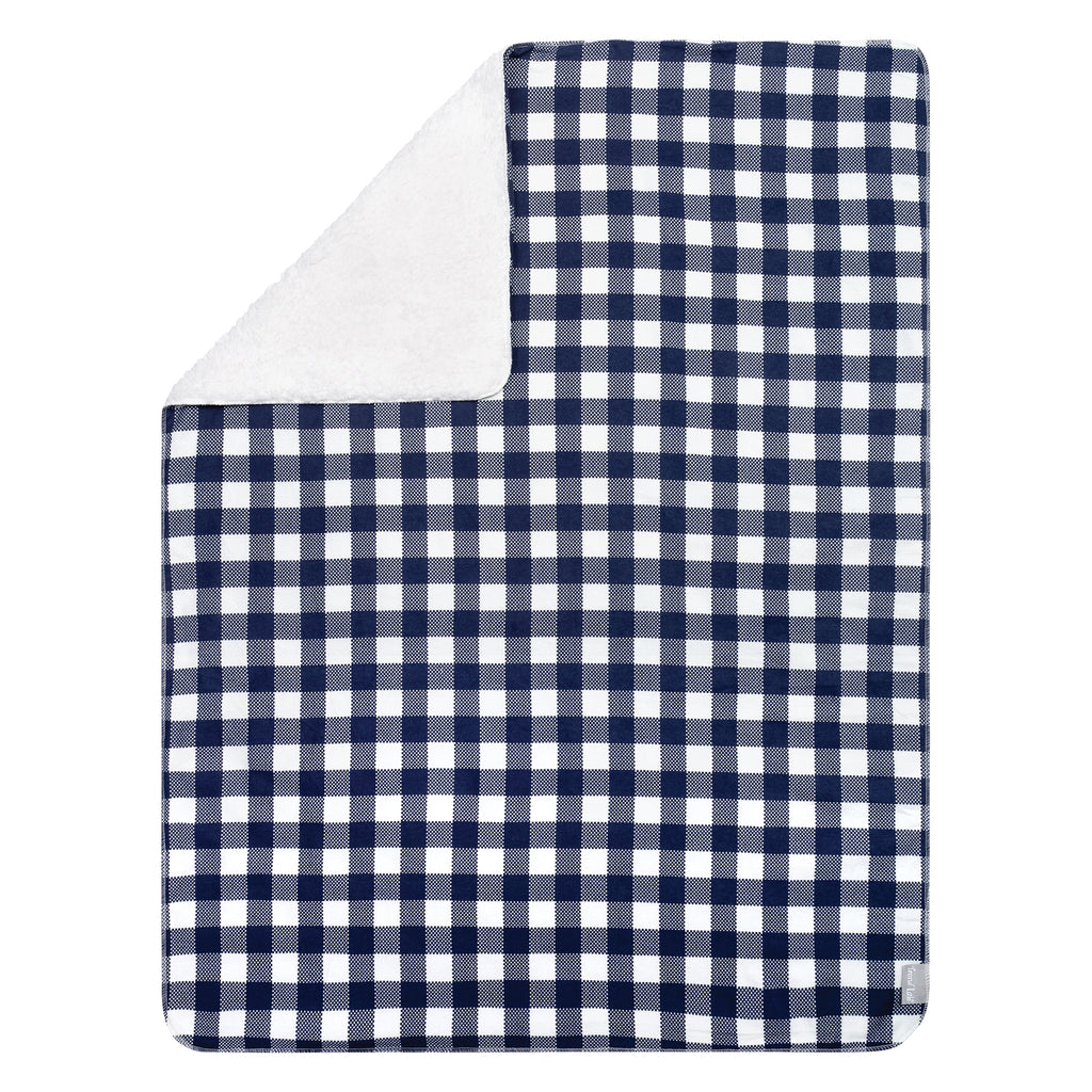 Navy and White Buffalo Check Flannel and Faux Shearling Baby Blanket103585$19.99Trend Lab