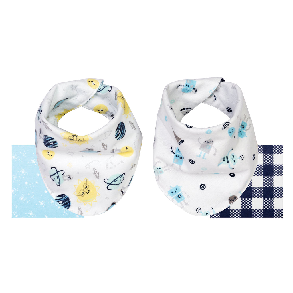 Out of this World 2 Pack Reversible Flannel Bandana Bib Set