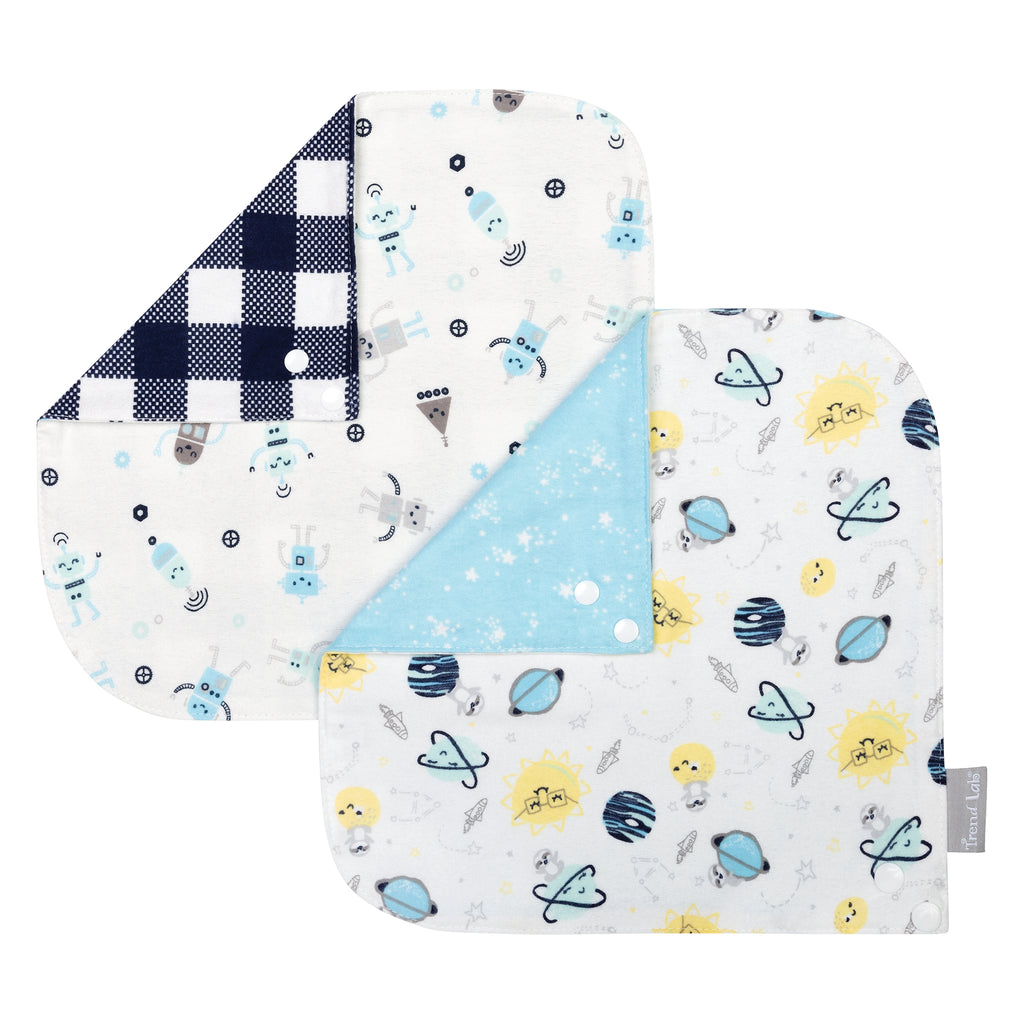 Out of this World 2 Pack Reversible Flannel Bandana Bib Set Trend Lab, LLC