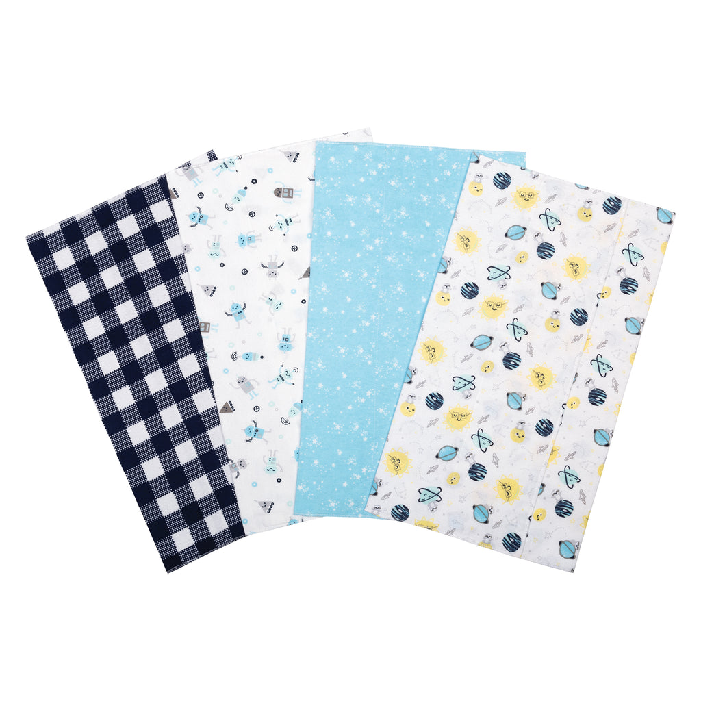 Out of this World 4 Pack Flannel Burp Cloth Set