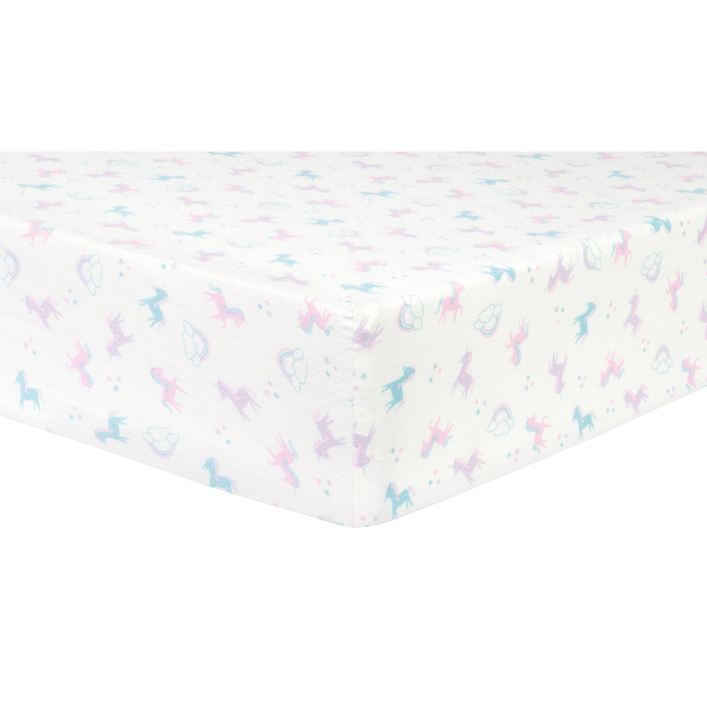 Unicorns and Stars Deluxe Flannel Fitted Crib Sheet
