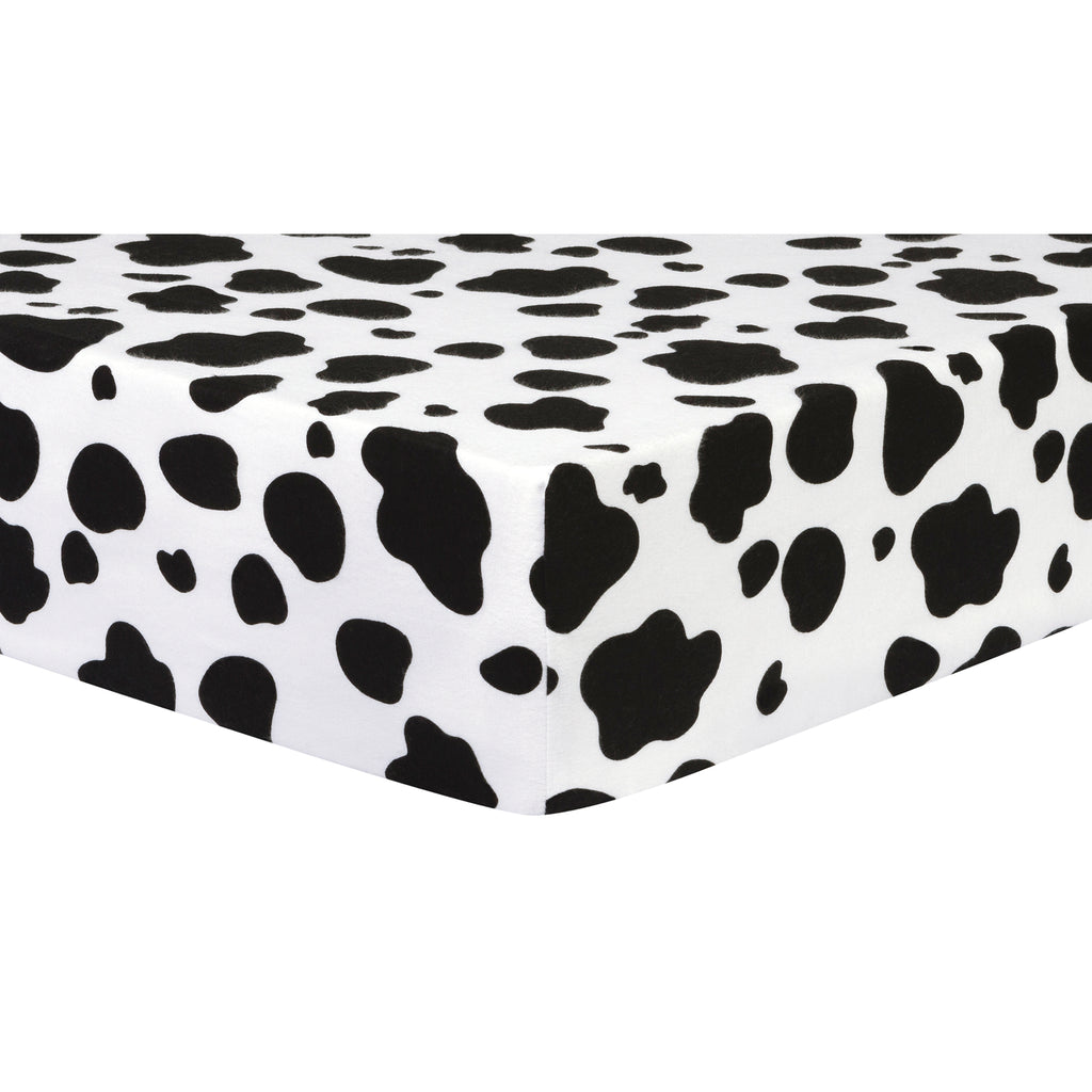 Cow Print Deluxe Flannel Fitted Crib Sheet