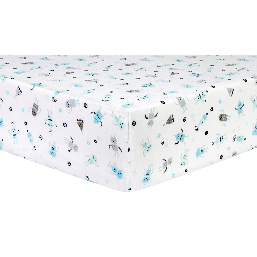 Robots Deluxe Flannel Fitted Crib Sheet