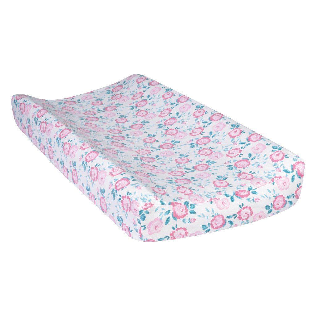 Emma Pink and Teal Deluxe Flannel Changing Pad Cover