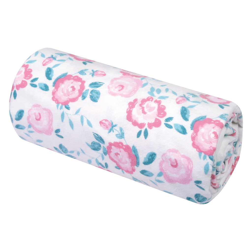 Emma Floral Jumbo Deluxe Flannel Swaddle Blanket