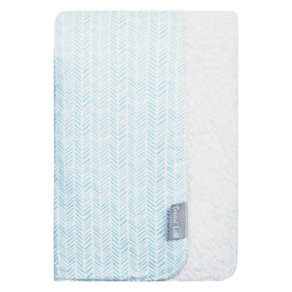 Aqua Herringbone Flannel and Faux Shearling Baby Blanket