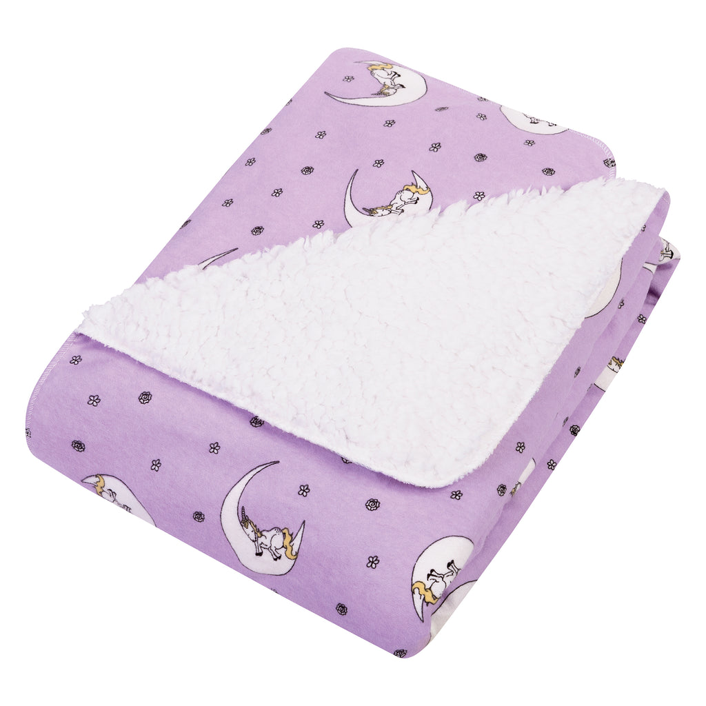 Unicorn Moon Flannel and Faux Shearling Baby Blanket Trend Lab, LLC
