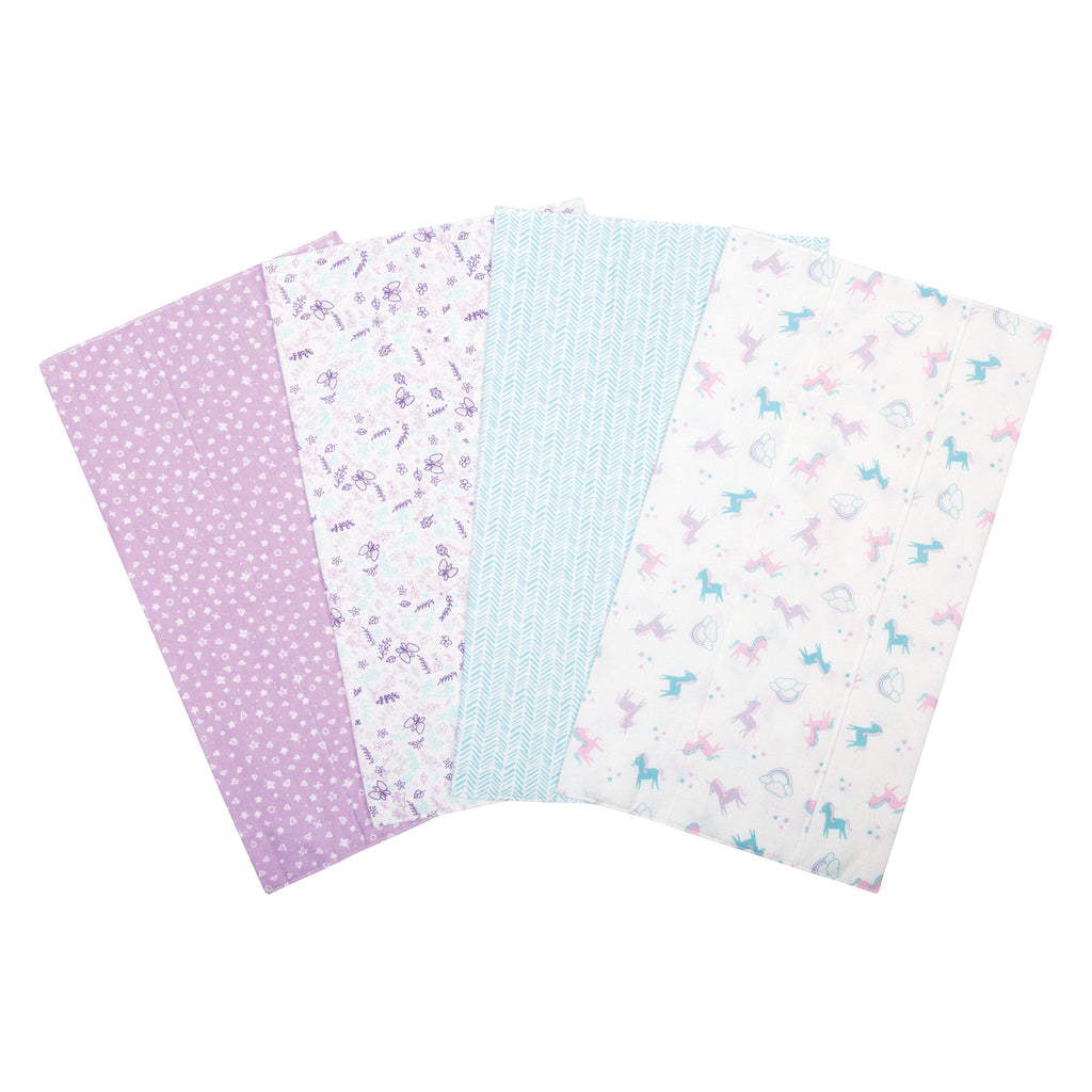 Unicorns and Flowers 4 Pack Flannel Burp Cloth Set
