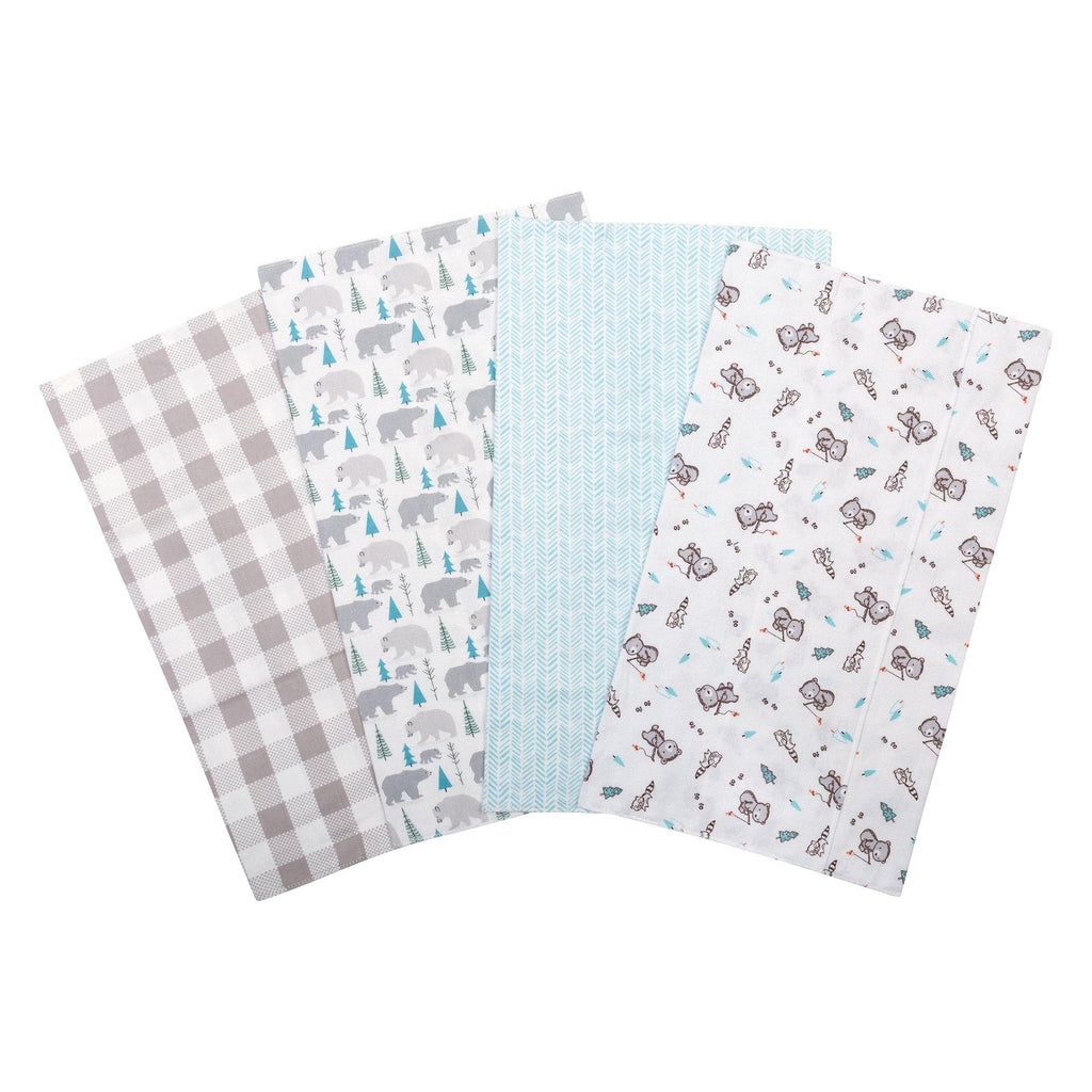 Bear 4 Pack Flannel Burp Cloth Set Trend Lab, LLC