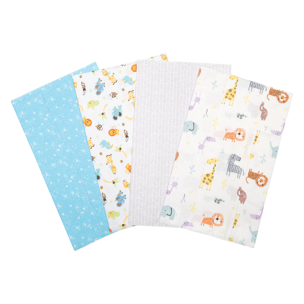 Jungle 4 Pack Flannel Burp Cloth Set Trend Lab, LLC