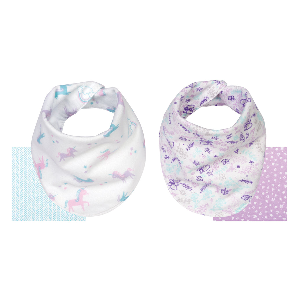 Unicorns and Flowers 2 Pack Reversible Flannel Bandana Bib Set