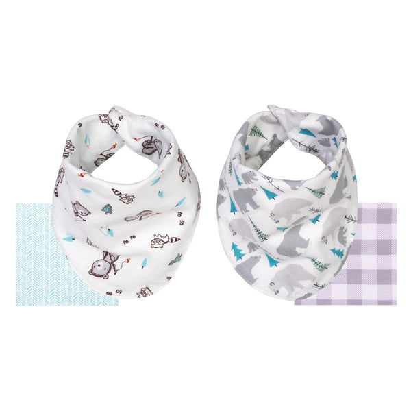 2 Pack Reversible Cotton Flannel Bandana Bib Bear