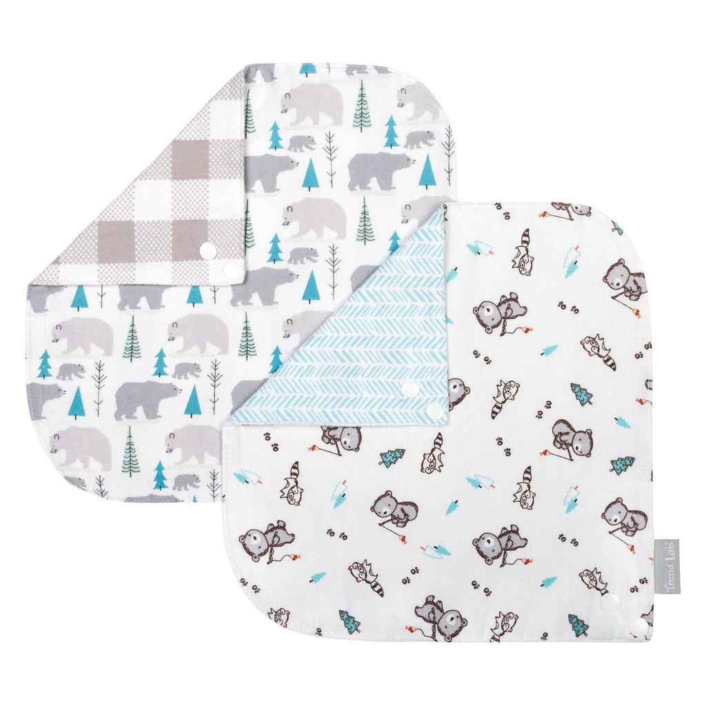 2-Pack Reversible 100% Cotton Flannel Bandana Bib - Bear & Buffalo Check Trend Lab, LLC