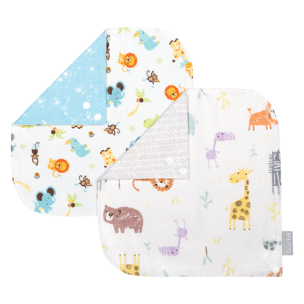 Jungle 2 Pack Reversible Flannel Bandana Bib Set Trend Lab, LLC