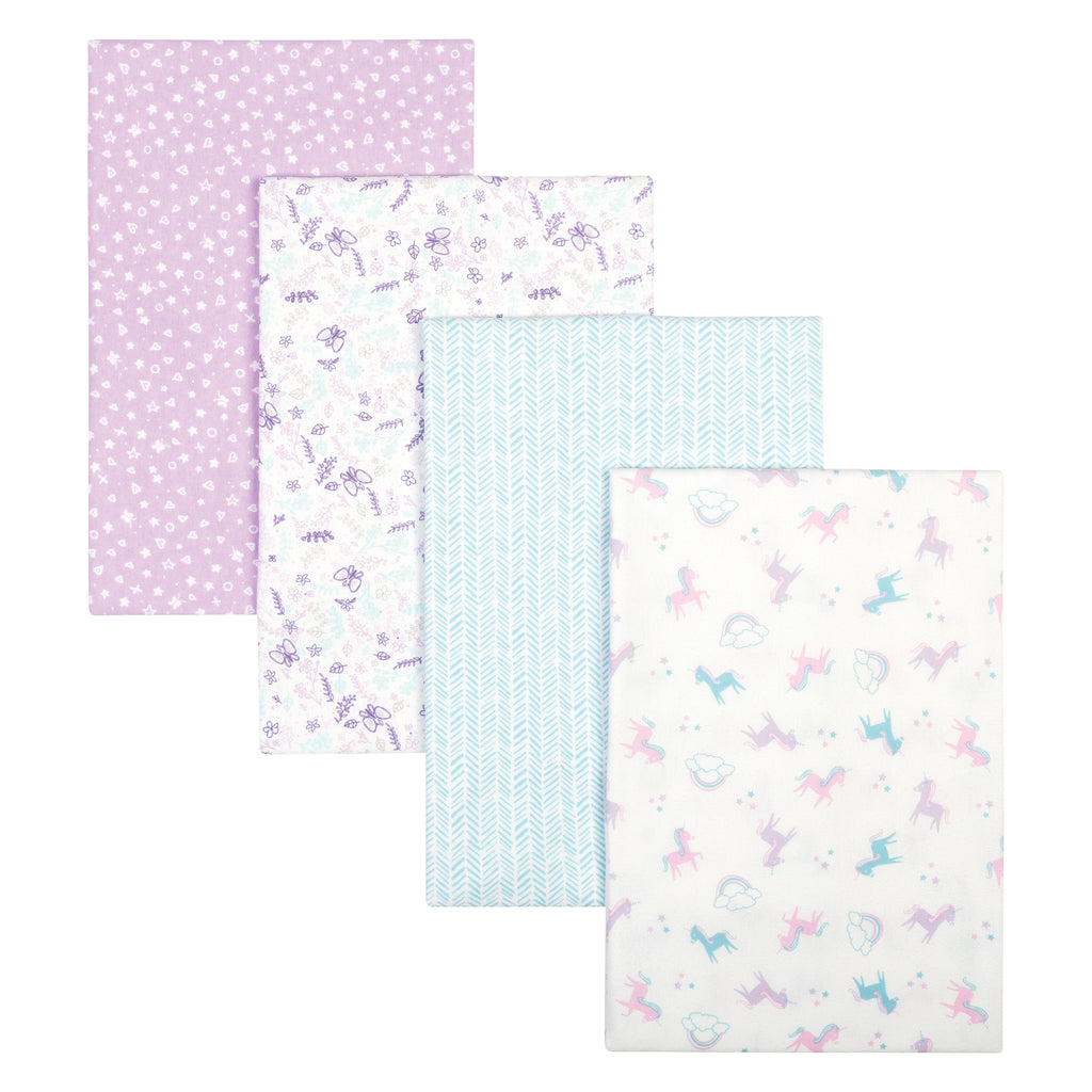 Unicorns and Flowers 4 Pack Flannel Blankets Trend Lab, LLC