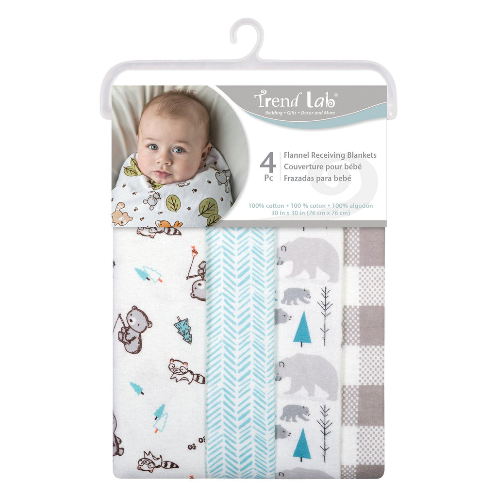 Bear 4 Pack Flannel Baby Blankets Trend Lab, LLC