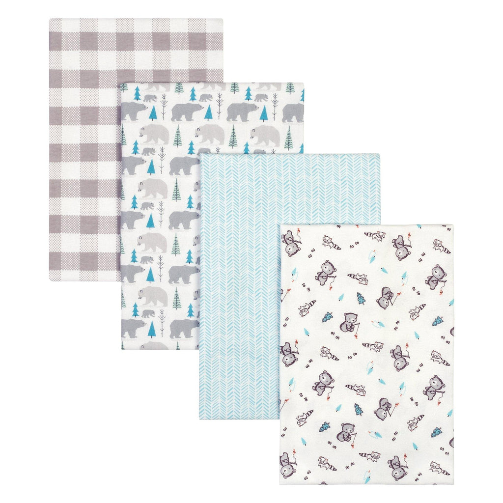 Bear 4 Pack Flannel Blankets