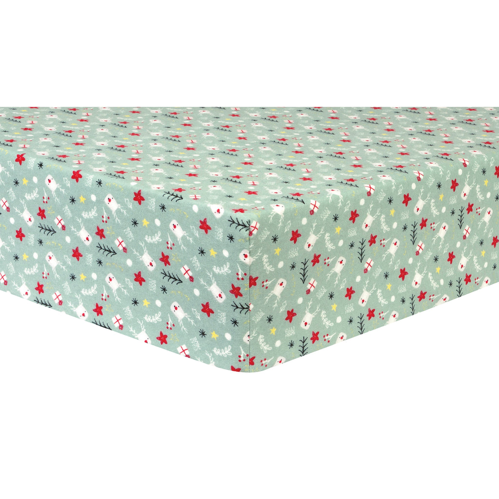 Reindeer Gifts Deluxe Flannel Fitted Crib Sheet