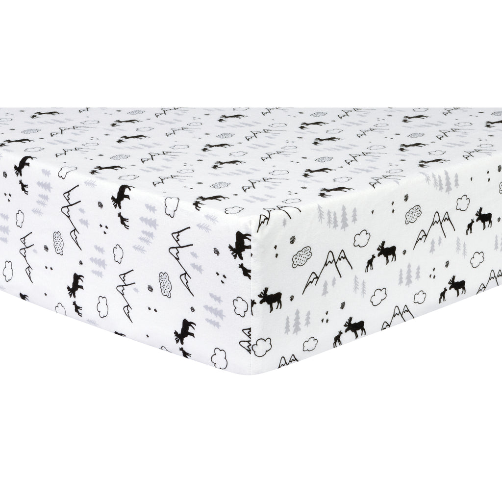 Lumberjack Moose Deluxe Flannel Fitted Crib Sheet Trend Lab, LLC