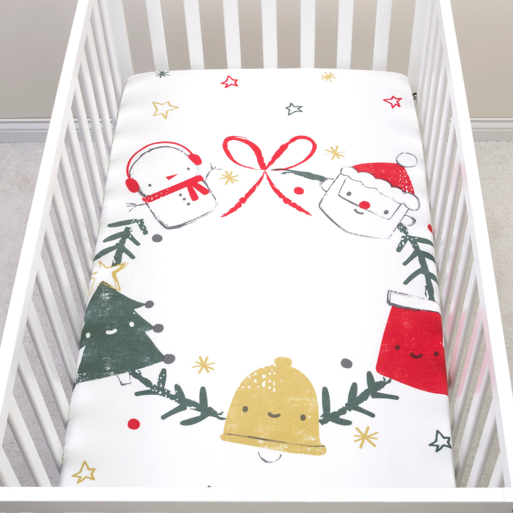 My Tiny Moments™ Jolly Wreath Flannel Photo Op Fitted Crib Sheet Trend Lab, LLC