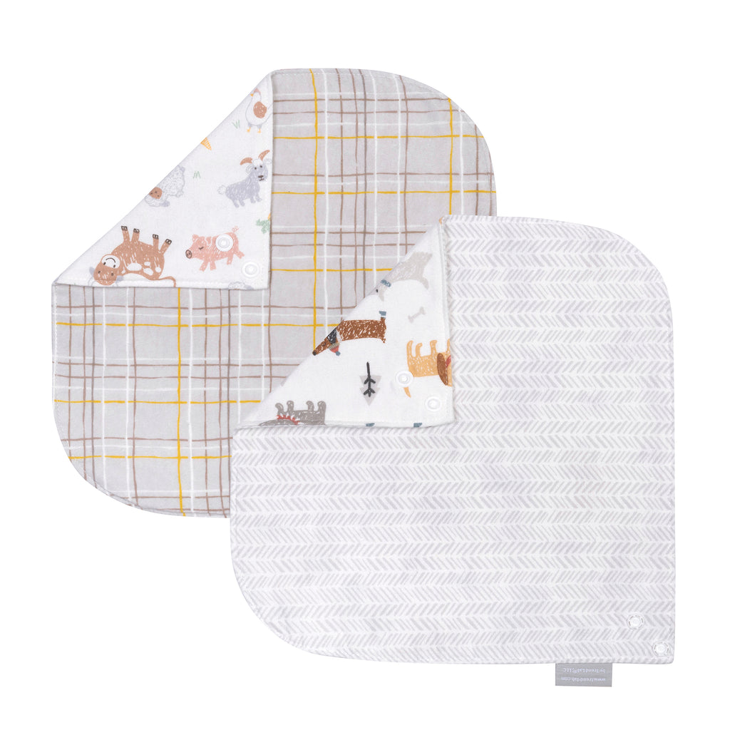 Farm Friends 2-Pack Flannel Bandana Reversible Bib Set by Trend Lab