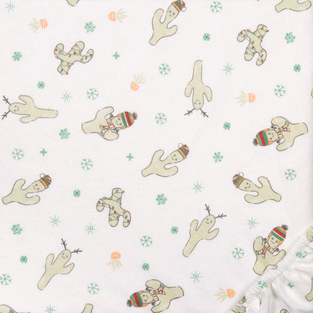 Holiday Cactus Print Deluxe Flannel Crib Sheet