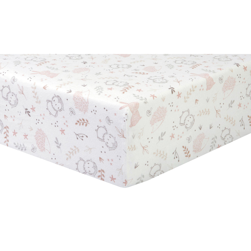 Woodland Friends Print Deluxe Flannel Crib Sheet