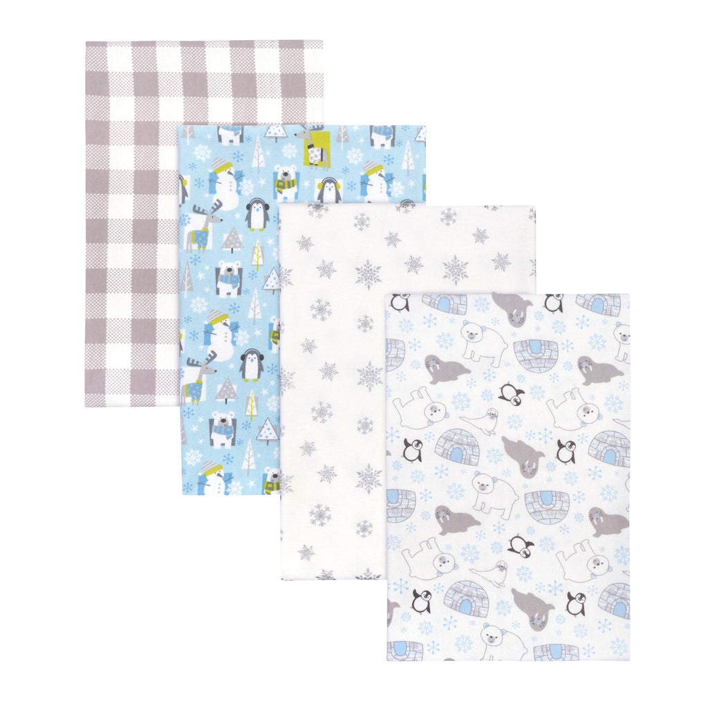 Winter Pals 4-Pack Flannel Receiving Blankets