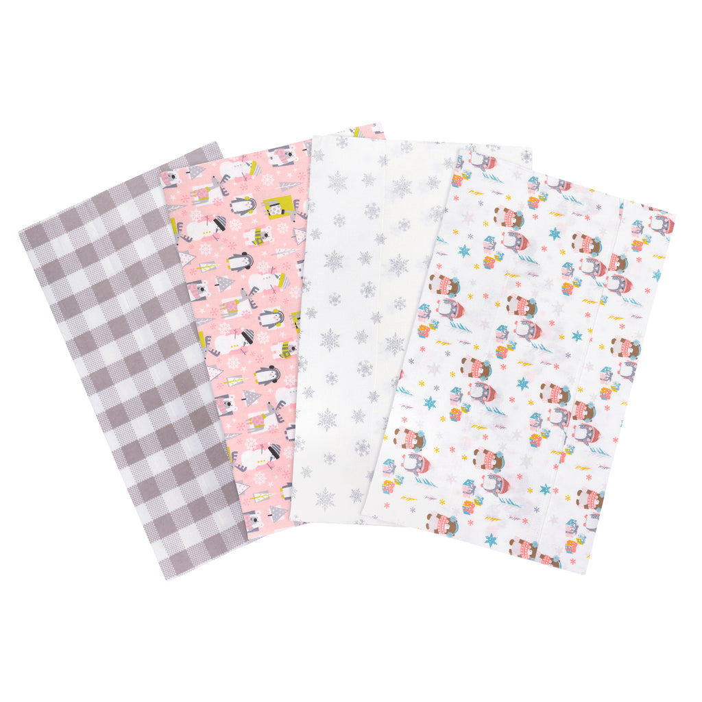 Winter Pals Flannel 4-Pack Burp Cloths from Trend Lab