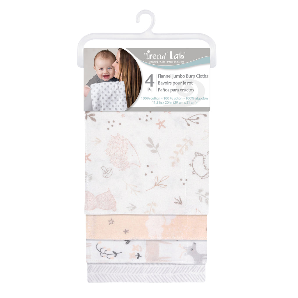 Woodland Girl Flannel 4-Pack Burp Cloths from Trend Lab Packaged